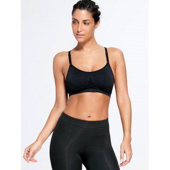 Adjustable Padded Comfortable Sports Bra - BLACK BLACK