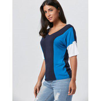 V Neck Color Block Tunic Tee - S S