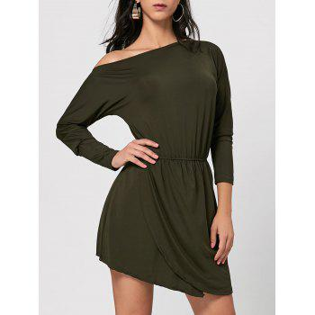 Skew Neck Asymmetrical Mini Dress - ARMY GREEN S