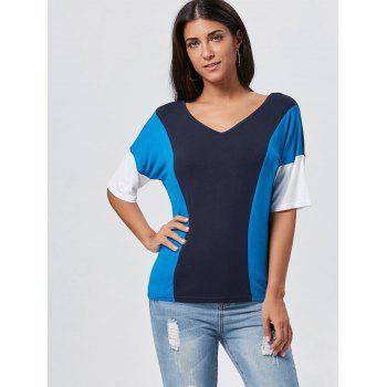 V Neck Color Block Tunic Tee - BLUE BLUE