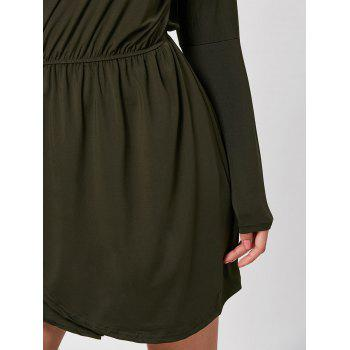 Skew Neck Asymmetrical Mini Dress - L L