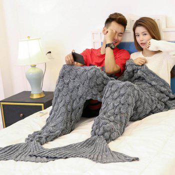Fish Scale Knitted Pattern Mermaid Blanket For Lovers - GRAY 180*155CM