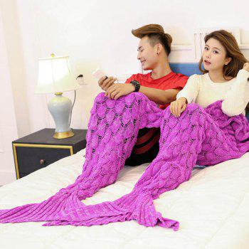 Fish Scale Knitted Pattern Mermaid Blanket For Lovers - ROSE MADDER 180*155CM