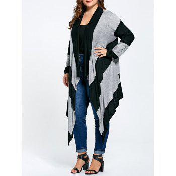 Striped Plus Size Long Asymmetric Cardigan