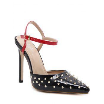 Slingback Patent Leather Rivets Pumps