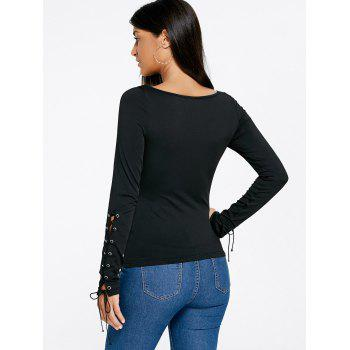 Lace Up Fitted Top - BLACK BLACK