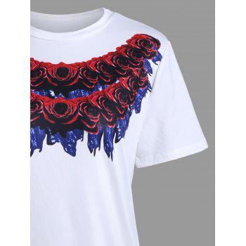 Long 3D Rose Print Short Sleeve T-shirt - L L