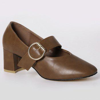 Mary Jane Square Toe Pumps - BROWN 37