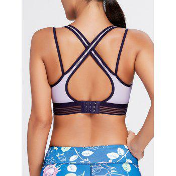 Padded Criss Cross Straps Sports Bra - LIGHT PURPLE LIGHT PURPLE
