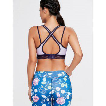 Padded Strappy Back Sports Bra - LIGHT PURPLE S