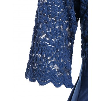 V Neck Collier en dentelle Pin Up Dress - Bleu M