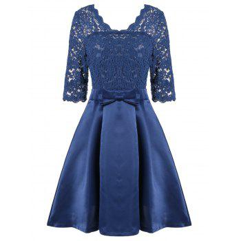 V Neck Lace Panel Pin Up Dress - BLUE M