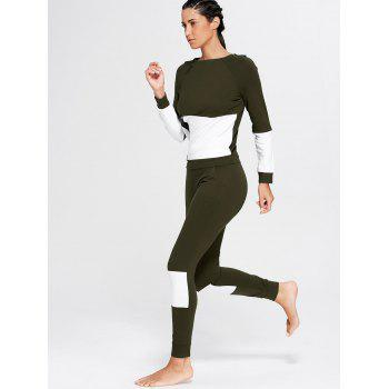 Color Block Zip Sweatshirt and Skinny Joggers - DEEP GREEN DEEP GREEN