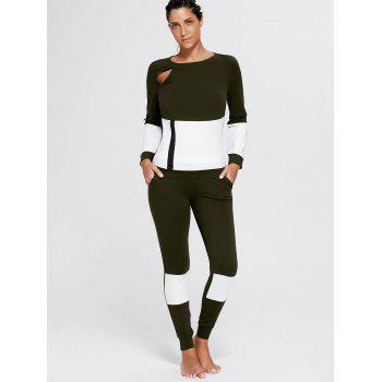 Color Block Zip Sweatshirt and Skinny Joggers - L L