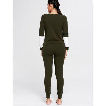 Color Block Zip Sweatshirt and Skinny Joggers - DEEP GREEN L