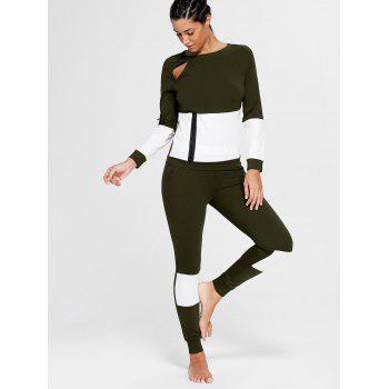 Color Block Zip Sweatshirt and Skinny Joggers