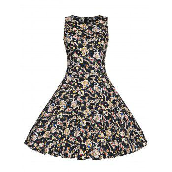 Print High Waist Plus Size Vintage Dress - BLACK BLACK