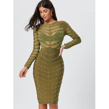 Semi Sheer Long Sleeve Rivet Bandage Dress - GREEN L