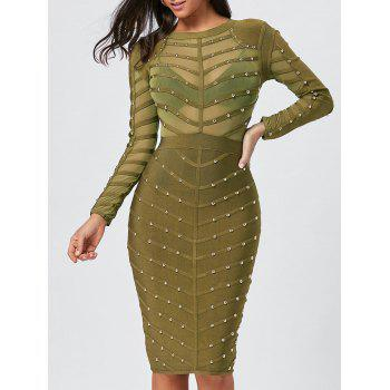 Semi Sheer Long Sleeve Rivet Bandage Dress