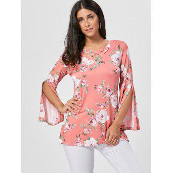 Split Flare Sleeve Floral Tunic Top - ORANGE PINK ORANGE PINK