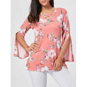 Split Flare Sleeve Floral Tunic Top - ORANGE PINK M