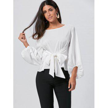 Puff Sleeve Belted Blouse - WHITE XL