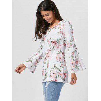 Split Flare Sleeve Floral Tunic Top - L L
