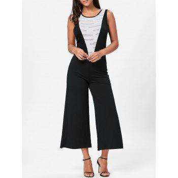 Sleeveless Two Tone Wide Leg Jumpsuit - WHITE AND BLACK L
