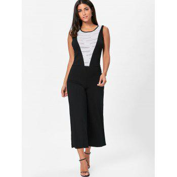 Sleeveless Two Tone Wide Leg Jumpsuit - WHITE/BLACK L