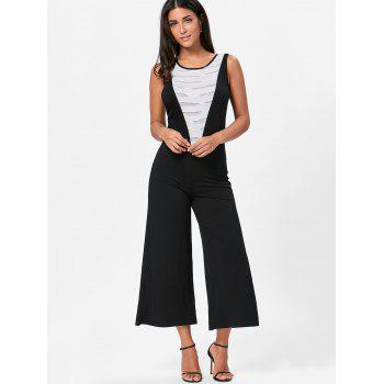 Sleeveless Two Tone Wide Leg Jumpsuit - XL XL