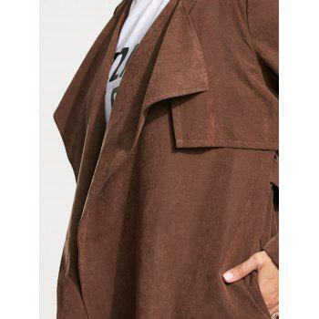 Faux Suede Long Belted Wrap Trench Coat - M M