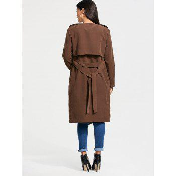 Faux Suede Long Belted Wrap Trench Coat - L L