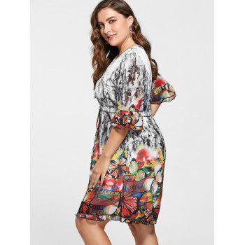 Butterfly Print Drawstring Knee Length Plus Size Dress - COLORMIX 4XL