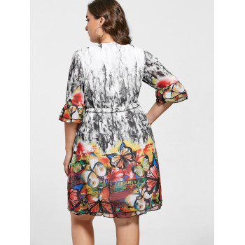 Butterfly Print Drawstring Knee Length Plus Size Dress - COLORMIX COLORMIX