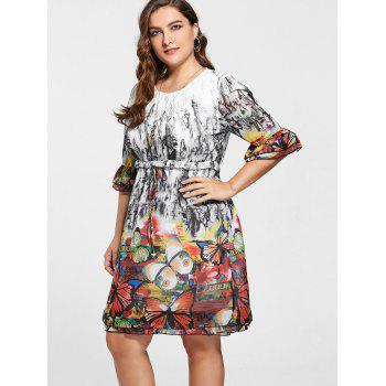 Butterfly Print Drawstring Knee Length Plus Size Dress - COLORMIX 5XL