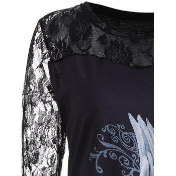 Plus Size Lace Panel Angel Print Top - 5XL 5XL