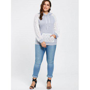 Plus Size Lace Raglan Sleeve Pocket Hoodie - 3XL 3XL