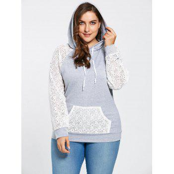 Plus Size Lace Raglan Sleeve Pocket Hoodie - GRAY 3XL