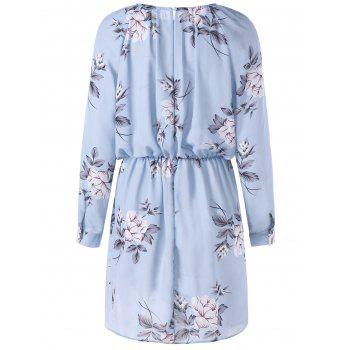 Allover Floral Long Sleeve Blouson Dress - 2XL 2XL