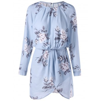Allover Floral Long Sleeve Blouson Dress - PANTONE TURQUOISE 2XL
