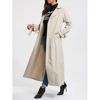 Belted Wrap Maxi Trench Coat - OFF-WHITE L
