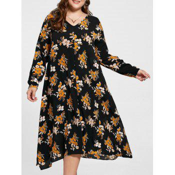 Plus Size Handkerchief Floral Print Dress - BLACK 4XL