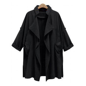 Drape Front Plus Size Trench Coat