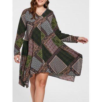 Geometric Handkerchief Plus Size Dress - MULTICOLOR 2XL