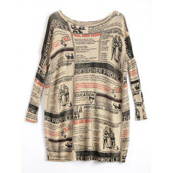 Plus Size Newspaper Printed Long Vintage Sweater - APRICOT ONE SIZE