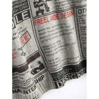 Plus Size Newspaper Printed Long Vintage Sweater - ONE SIZE ONE SIZE