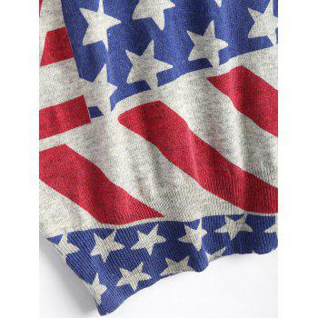 American Flag Plus Size Patriotic Knit Sweater - ONE SIZE ONE SIZE