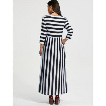 Stripe High Waist Maxi Dress with Pocket - BLACK BLACK