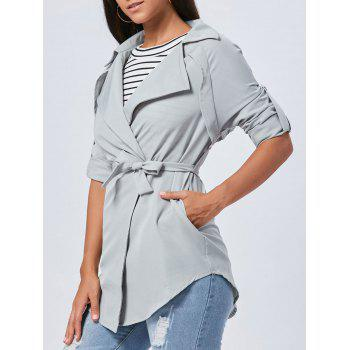 Long Lapel Wrap Coat - GRAY GRAY