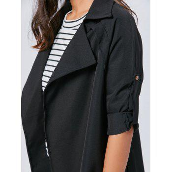 Long Lapel Wrap Coat - BLACK BLACK